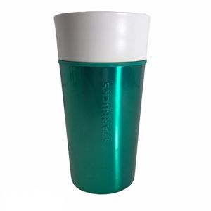 Starbucks Green Metal Travel Cup Mug Ceramic